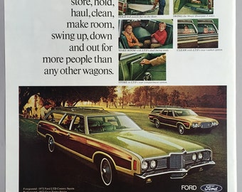 1972 Ford LTD Country Squire Print Ad - Ford wagons - Station Wagon