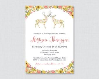 Woodland Lingerie Shower Invitation Printable or Printed - Whimsical Floral Deer Lingerie Shower Invite, Deer Bachelorette Party Invite 0022