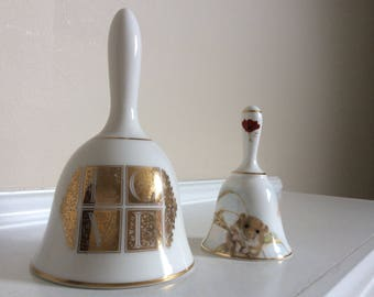 Two White Bone China Bells Victoria China and Papel with Gold Gilt and Designs.