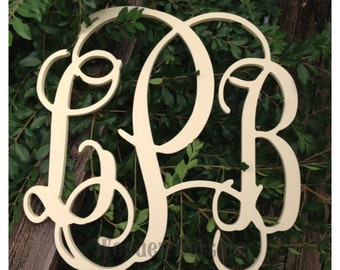 18 inch Wood Monogram Vine Connected - Perfect for hanging on a wall or added to a wreath and hanging on your front door. Great gift idea.