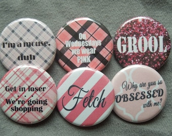 Mean Girls Pinback Button Set of 6 1.25""