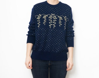 Vintage dark blue pullover with shiny golden threads