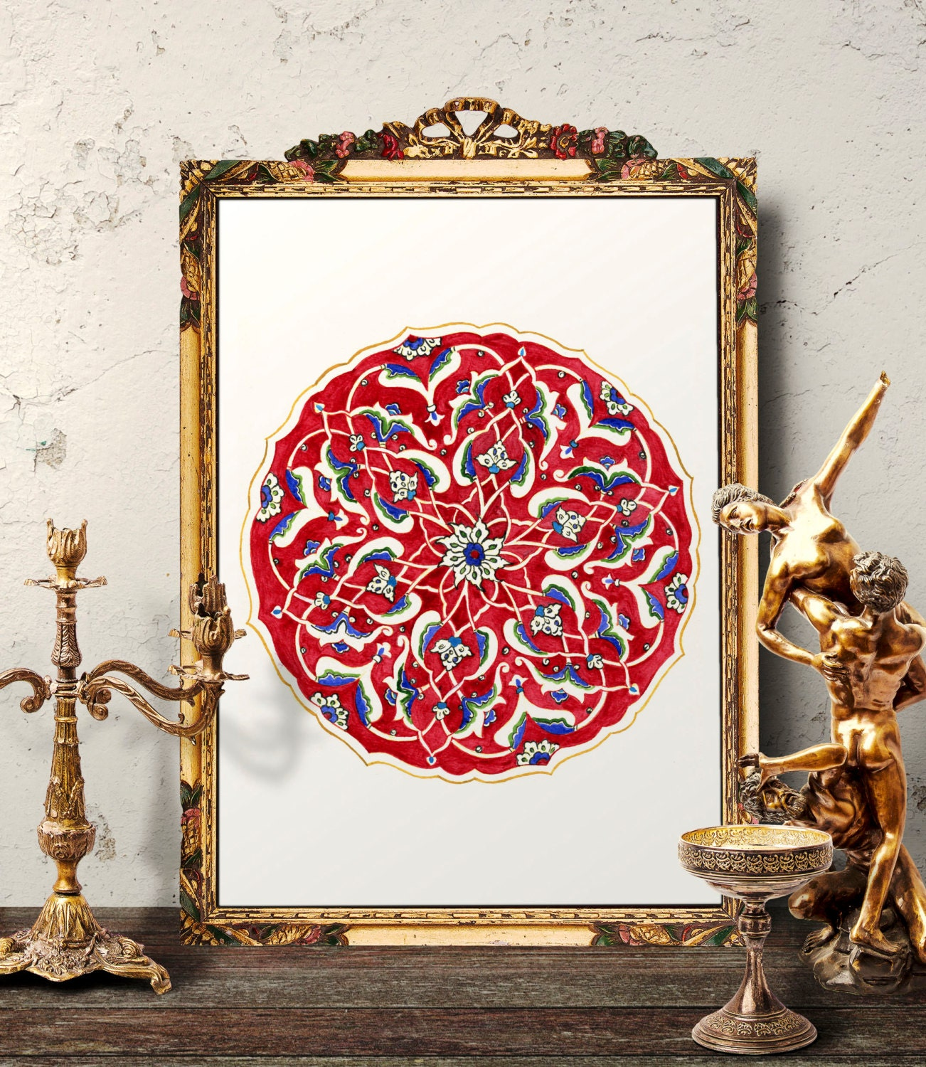 Traditional Ottoman Tulip Watercolor Wall Art Turkish Floral: Traditional Vintage Red Floral Watercolor Wall Art Antique