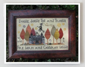 PLUM STREET SAMPLERS Toil and Trouble counted cross stitch patterns at thecottageneedle.com October witch Halloween Autumn