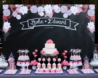Chalkboard WeddingThemed Backdrop  .JPEG File Only- YOU PRINT