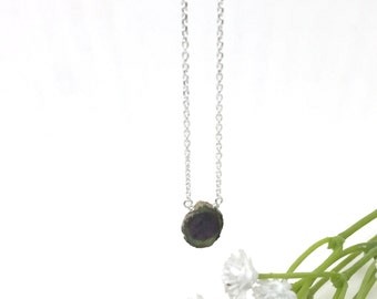 Corundum slice little rock sterling silver necklace