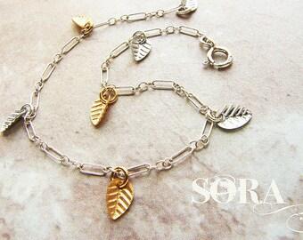 Metallic leaf bracelet, tiny clustered gold leaf bracelet, delicate everyday jewelry, bridesmaid bracelet