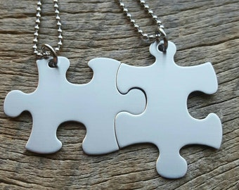 SHIPS NEXT DAY Puzzle piece Non-Customizable  Stainless Steel  Necklace Set - Best Friends  Hers His Anniversary
