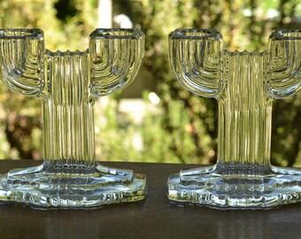 Art Deco Candleholders, Vintage Pair, Southwest Decor, Saguaro Cactus
