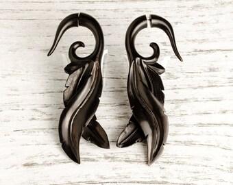 Fake Gauge Earrings Leaves Wooden Tribal Earrings - Gauges Plugs Bone Horn - FG087 DW G1