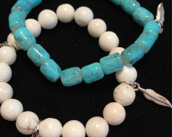 Turquoise/White Marble Stack