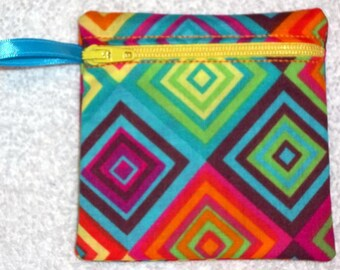 Handmade - Colorful Geometric zippered pouch   -  fabric Gift Card Holder - coin pouch