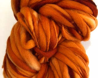 Handspun Thick n Thin art yarn. Merino wool. Hand dyed. Super soft. 7.5oz 184 yards