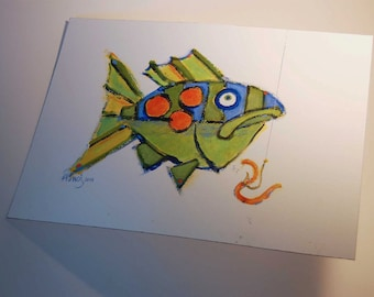 Whimsical Fish Painting - Original Fine Art - Colorful Blue Green Orange FISHeFISH Style Perfect for  Kids Room