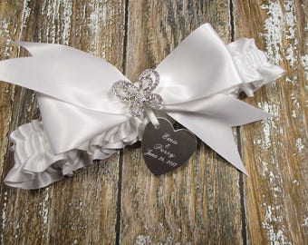 Butterfly Wedding Garter in White Satin with Rhinestone Butterfly and Personalized Engraving