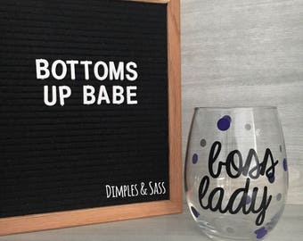 Boss Lady Wine Glass | Boss Babe | Girl Boss | Gift for Friend | Wine Lover | 21oz Wine Glass | Small Business Owner | Makers Gonna Make