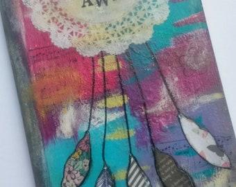 Dream Away Handpainted Lined Journal // Mixed Media, Original Art, Gift Idea
