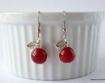 Red Apple Earrings, Teacher Gift for Her, Teacher Apple Jewellery, Teacher Appreciation, Teacher Earrings, Gift for Teacher, Food Jewellery