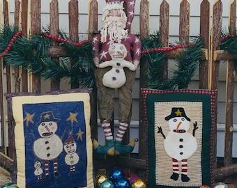 Primitive Christmas Santa Claus Pattern Doll  Snowman EPattern Punchneedle  Snowmen  Xmas Pillow  Folk Art  PDF by Hickety Pickety 102