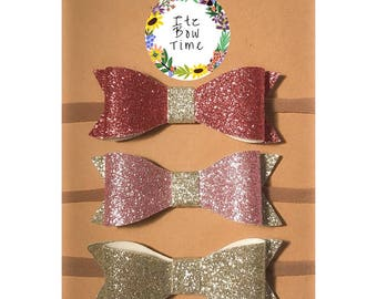 Glitter Hair Bows - Easter Baby Bow 3 Pack - Purple Pink and Silver Bows for Baby and Toddler - Headband and Clips