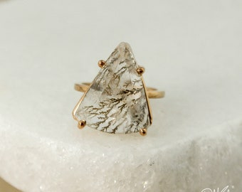 Rose Gold Natural Dendritic Quartz Ring - Triangular Dendritic Quartz - Statement Ring, One of a Kind