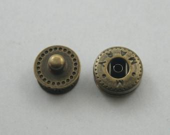 20 sets.Antique Brass Snaps Buttons Fasteners Rivets Studs Buttons Decorative Rivets 12 mm. VT BR5 K
