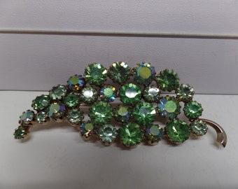 Vintage Lime Green Aurora Borealis Crystal Leaf Brooch