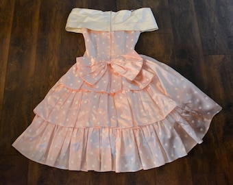 Vintage Gunne Sax 80's does 50's polka dot prom dress pink and white satin Pretty in Pink day dress party dress retro Jessica McClintock