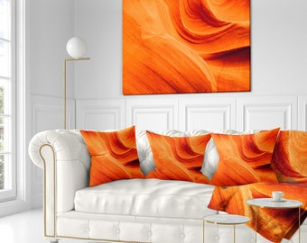 Orange Upper Antelope Canyon' Landscape Photography Throw Pillow Insert and Cushion Pillow Cover (CU8779)