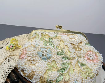 Beaded Coin Purse, Jolles Original Handbag, Floral Design