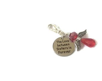 The love between sisters is forever bagcharm, Guardian Angel bagcharm, sisters bagcharm, sisters gift