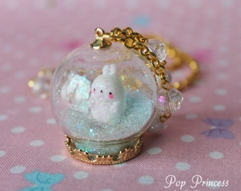 Special Edition: Kawaii White Rabbit Molang in Glass Snow, Hearts, Stars Globe Ring Terrarium Necklace