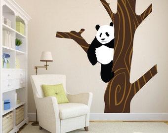 Panda Bear Decal Mural, Nursery Wall Decal Bear, Panda Bear Wall Stickers, Panda Bear Wall Design, Panda Bear Wall Decor, Panda Decor, n29