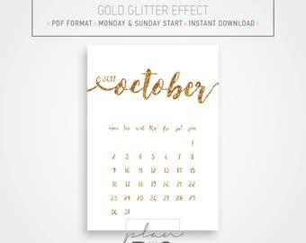 2017 - 2018 Printable Wall Calendar, Wall planner, A4 Calendar, Gold glitter, Minimal calendar, Instant download, Gold glitter Calendar