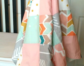 Multi Chevron Patchwork Baby Blanket-2 sizes available