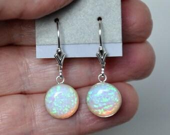 Opal Earrings, Sterling Silver Earrings, Australian Opal, Sterling Silver Leverbacks, 925 Sterling Silver, Dangle Earrings