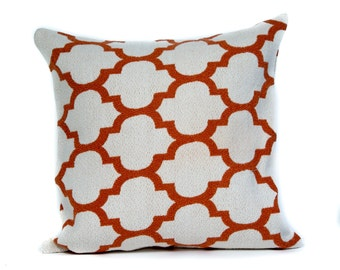 White and Orange Pillow Case. 14x14 Pillow Cover. Accent Pillow. Pillows for Couch. Custom Pillow. Colorful Pillow. Decorative Pillows