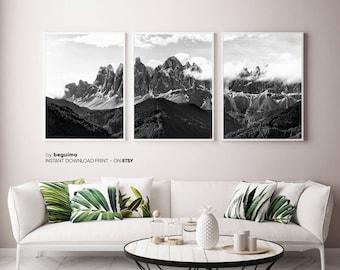 3 Piece Mountain Range, Winter Landscape, Set Of 3 Prints, Printable Poster, Snow Snowy Foggy, Black & White Photography, Digital Download