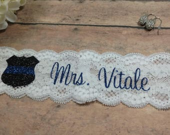 Police Garter, Police Wife, Thin Blue Line, Bling Garter, Something Blue, Shower Gift, Blue Garter, Garter, Wedding Garter, Brides Garter