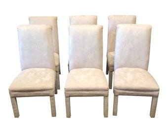 Creme Color Upholstered Parsons Chairs  Set Of 6