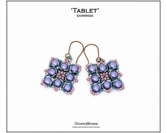 Bead pattern DIY beading tutorial beaded earrings Tablet earrings with 2-hole cabochons, O beads and seed beads
