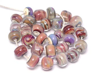 Beads set Murano beads 29 pcs Colorful glass beads Handmade beads Necklace beads Pastel Beige Brown Lilac Unique Custom art beads necklace