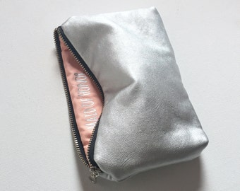 Ready to Ship. Maid of Honor Gift for Her. Silver & Peach Makeup Bag