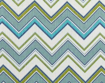 Linen Fabric By the yard Chevron Turquoise on Ivory