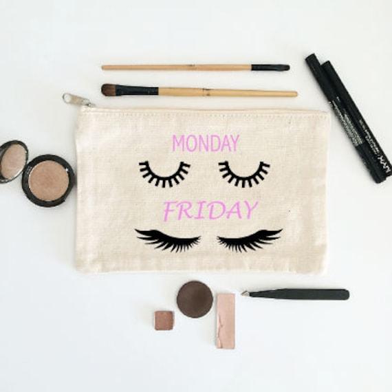Canvas Cosmetic Bag: Monday vs. Friday Mascara Lashes - Makeup Bag