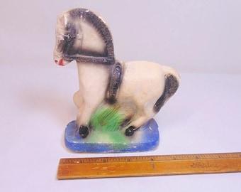 Plaster. Chalk. Horse. Figurine. vintage. 1940s. 1950s. Chalkware. Plasterware. Carnival Prize. Glitter. White Horse. OurVintageHouse