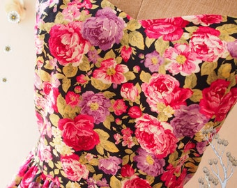 USD20 SALE - Size L- Floral Tea Dress Navy Pink Purple Floral Dress Vintage Floral Tea Dress Floral Party Prom Dress Bridesmaid Dress