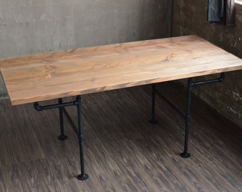 Industrial Dining Table *FREE SHIPPING* Modern Kitchen Table -- Black Iron Pipe
