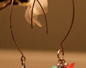 Turquoise and red coral marquise earring