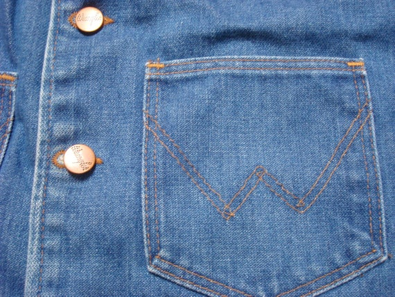 Vintage Retro Men's 70's Wrangler Jean Vest 14oz Plus Denim Vest No Fault Indigo Sanforized XL Made in the USA Gk3II